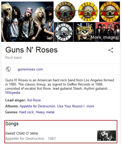 music featured snippet