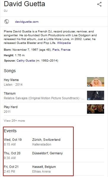 events featured snippet