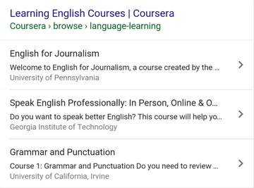 educational programs and courses featured snippet