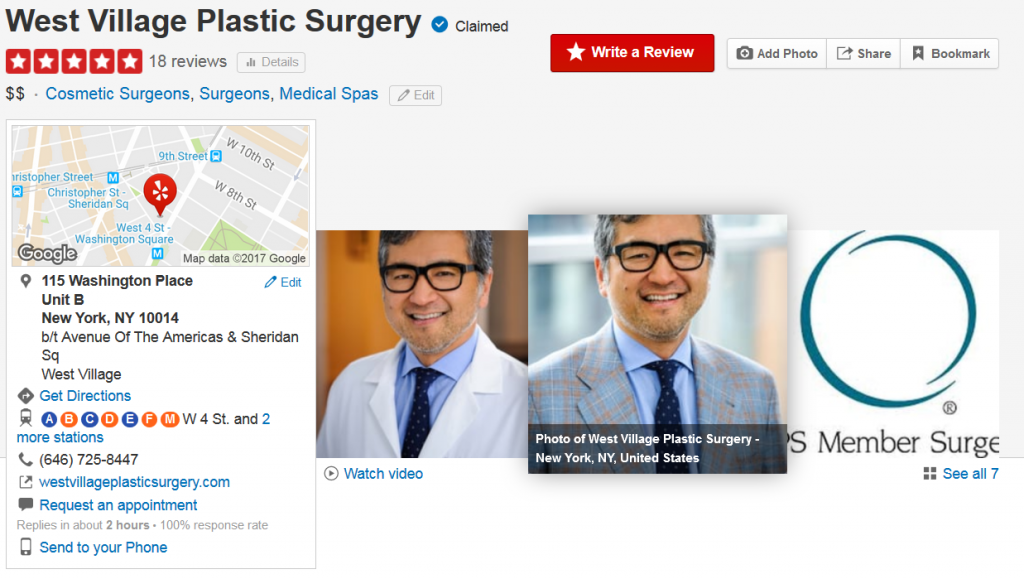 plastic surgeon yelp