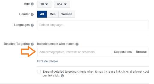 Detailed targeting Facebook