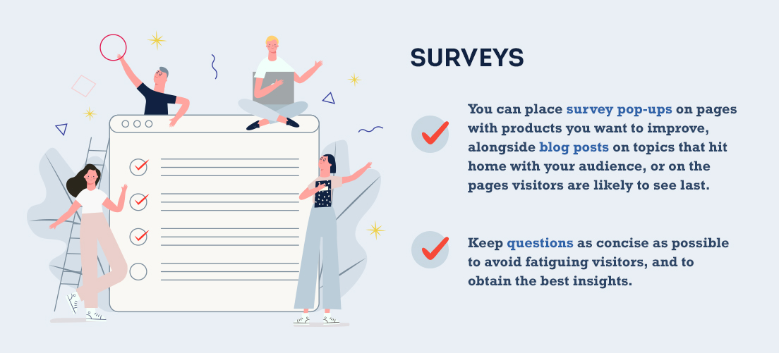 survey pop-ups on pages with products